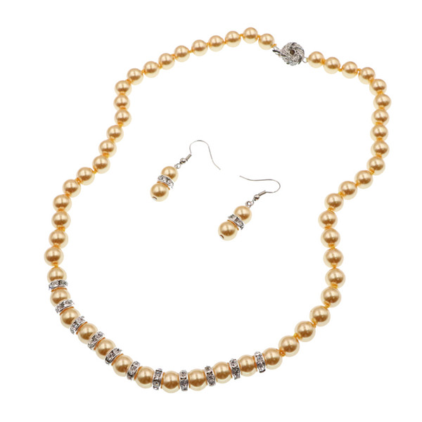 New 9 Colors Necklace Earrings Jewelry Set Female Party Weddings Gifts Simulated Pearl Glass Shell Beads Chain Dangle Sets B126