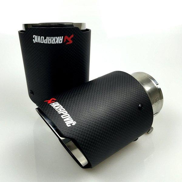 top popular Akrapovic Style Carbon Fibre Car Exhaust Tip Muffler Tail Pipe Matte Carbon fiber cover 2021