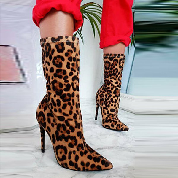 2019 Women's Sexy Boots Leopard Autumn Short Boot Stylish Slip-On Mid Tube Sock Boot High Heel Stiletto Heels Shoes Club Botas