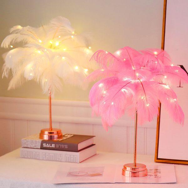 Lampada ragazza regalo 1pc creativo LED Piuma USB casa moderna Comodino LED Piuma Luce Notte di Natale romantico ragazza regalo