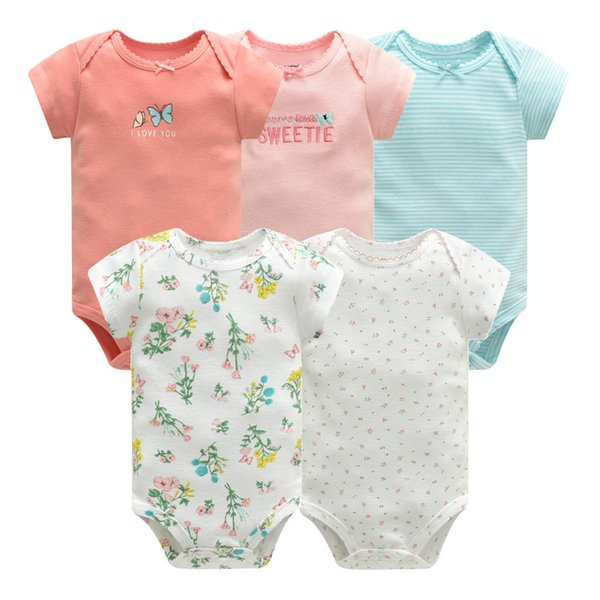 Baby Jumpsuit 2019 Bodysuits Short Sleeve Cotton Cute Print Romper 5 Pcs New Born Infant Outfit Summer Baby Boys Clothes Set