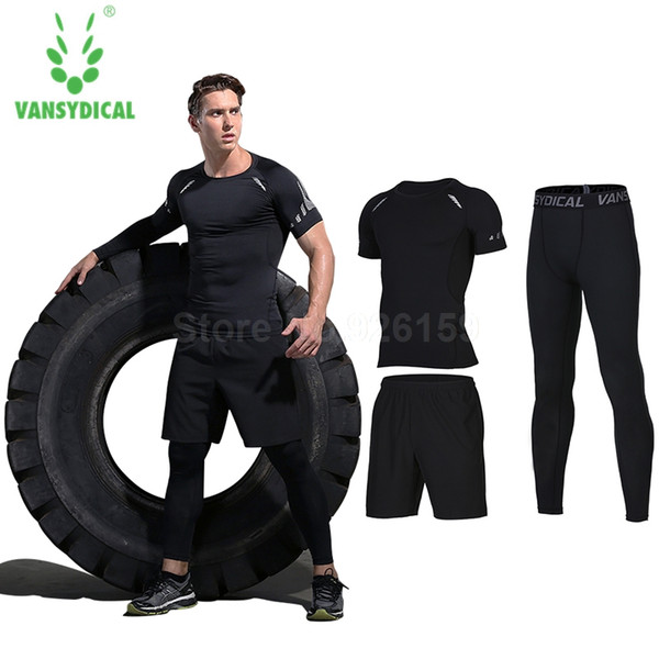 Vansydical Mens Sports Suits Running Suits For Men 3pcs Men Sportswear Sets Tracksuits Basketball Training Running Gym Clothing