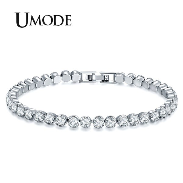UMODE New Women Fashion Silver Color Bracelets Luxury Round Cubic Zirconia Bracelet for Women Wedding Jewelry Gifts UB0175A