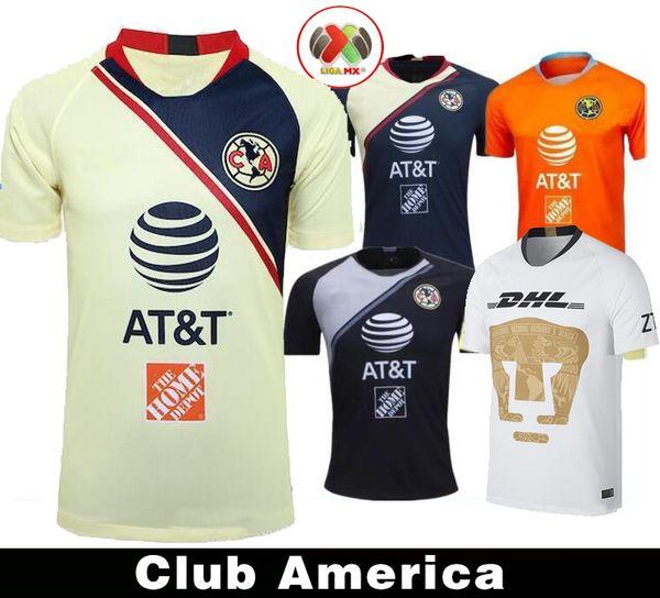 19 20 maglia nera LIGA MX Club America casa gialla 2019 via Maglia club messicana terza Calcio P.AGUILAR O.PERALTA MATHEUS