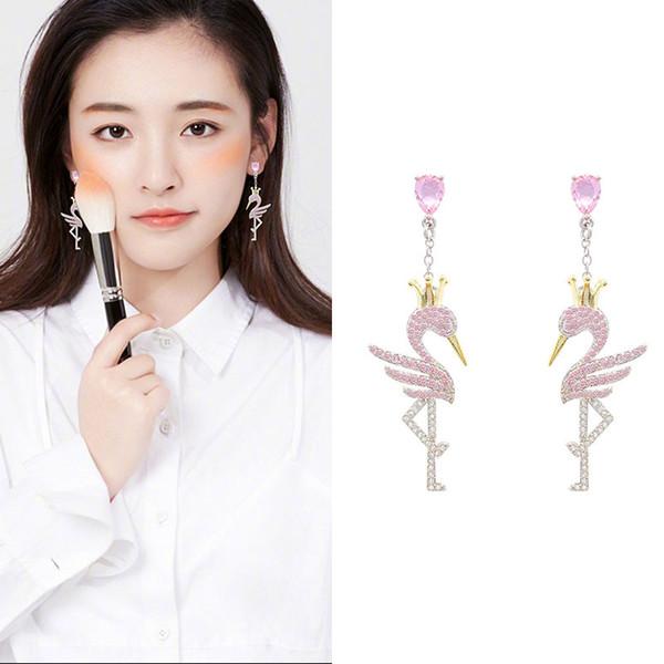 2019 new Korean trend white crown swan earrings long chain silver needle earrings exquisite luxury super flash temperament female earrings
