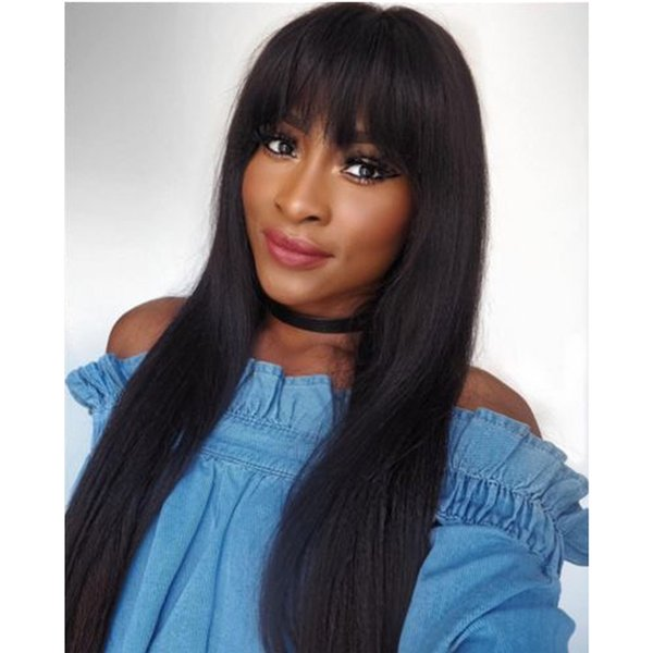 New Arrival Peruvian Human Hair Full Fringe Wig Human Hair Glueless Full Lace Wig With Bangs Bleached Knots For Black Women
