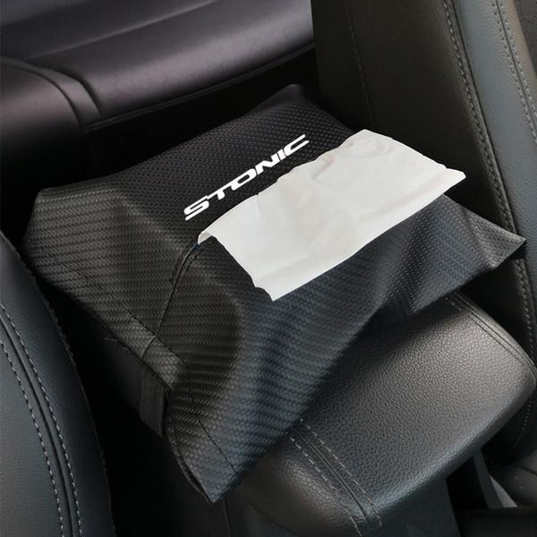 Carbon Fiber Grain Leather Seat Back Tissue Box Car Armrest Box Tissue Car Interior Accessories For Kia Stonic