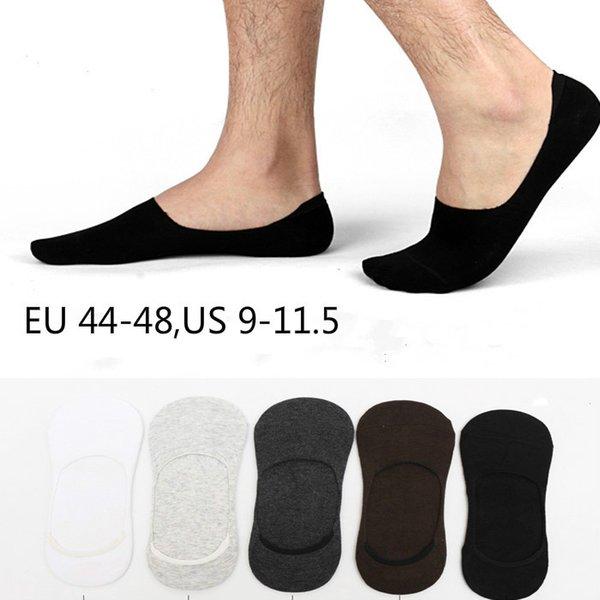 1 lot = 5 çift Artı boyutu Erkek çorap terlik pamuk Kaymaz Silikon Görünmez Hiçbir gösteri Tekne Çorap Yaz sonbahar Moda