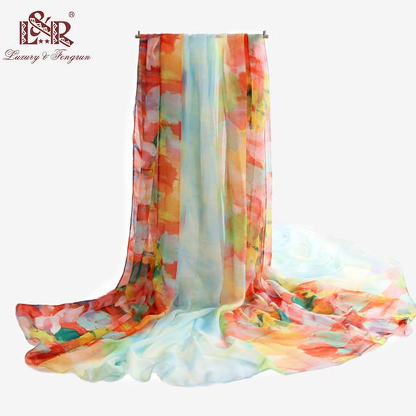 Mujeres Bohemia gasa bufanda de seda estampado floral mantones Wraps gran tamaño playa Cover Up Femal Sexy Sunscree traje de baño Sarong Pareo