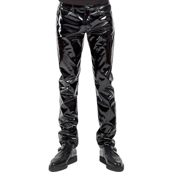 Artı Boyutu Erkekler Seksi Siyah Wetlook Faux Deri Lingerie Egzotik Pu Lateks Catsuit Fermuar Pvc Sahne Clubwear Eşcinsel Fetiş Pantolon C19031601