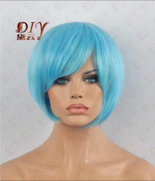 Parrucca spedizione gratuita dritto nuova luce blu breve cosplay donne parrucca Fancy Dress calore capelli pieni