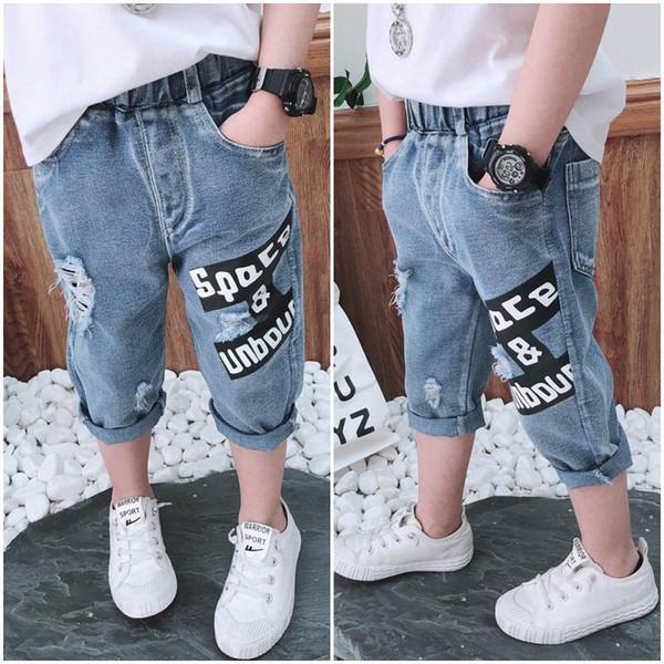 New hole boys jeans denim Kid Jeans Fashion kids designer clothes boys Casual Pants Kids Trouser Summer kids clothes boys clothes A5940