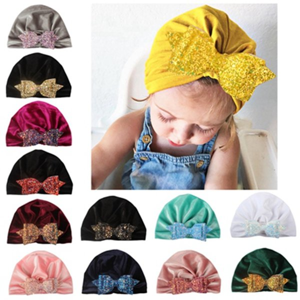 645287834 2019 Baby Boys Girls Sequin Bow Hat Caps Turban Knot Head Wraps Hats Infant  India Hats Kids Gold Velvet Beanie From Crown7, $1.54 | DHgate.Com
