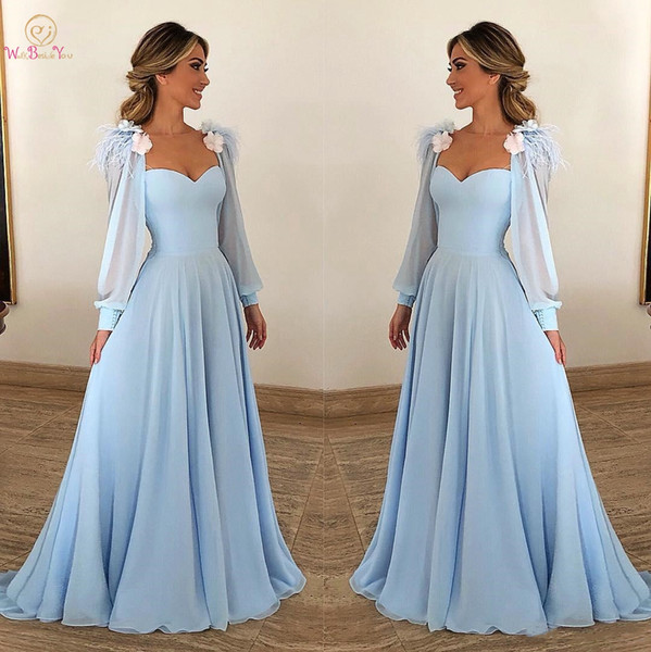 Walk Beside You Sky Blue Evening Dresses Chiffon with Jacket Long Sleeves with Feather Flower A-line Prom Gown Formal Dress 2018