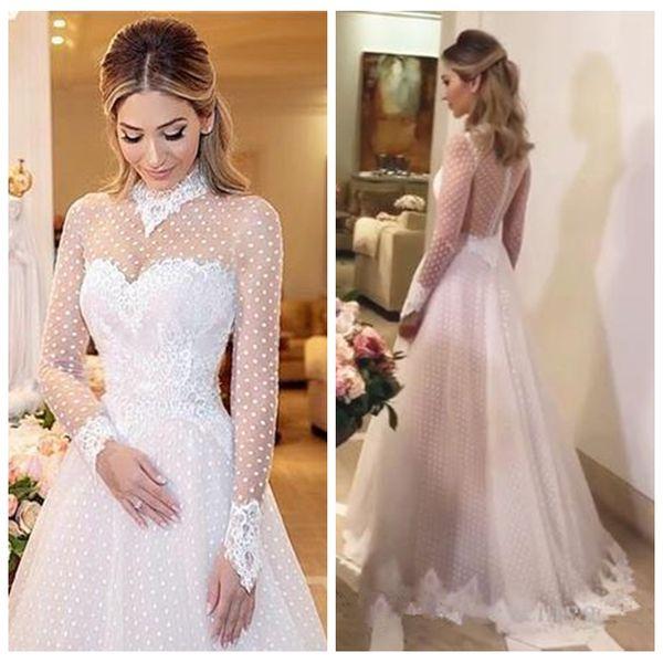 a line high neck long sleeve muslim camo wedding dresses african vestidos de novia spring country wedding gowns - from $139.08