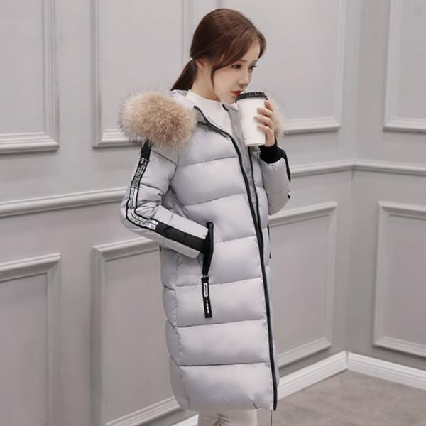 2019 Hiver Nouvelle Conception Femmes De La Mode Mince Moyenne Longueur À Manches Longues En Coton Outwear Garder Au Chaud À Capuche Plume Coton Veste