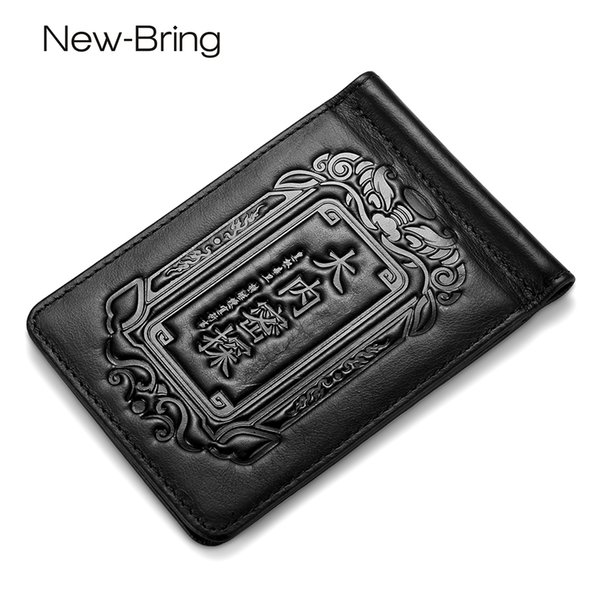 Newbring Slim Money Clip Men Women Genuine Leather Bifold Male Purse Billfold Wallet Female Clamp For Money Case Chinese Charact Y19052202