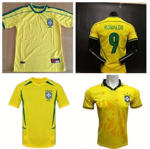 Üst kalite ! Brezilya Retro forması futbol formaları 1994 1998 2002 Brezilya Rivaldo / R. Carlos retro brezilya futbol Formaları gömlek ücretsiz kargo