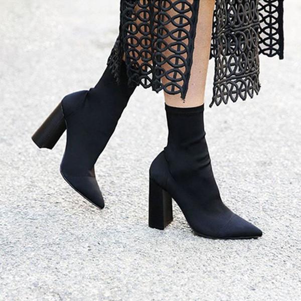 İnce Streç Ayak Bileği Çizmeler Kadınlar için Sivri Burun Çorap Çizmeler Kare Yüksek Topuk Çizmeler Ayakkabı Kadın Moda Bota