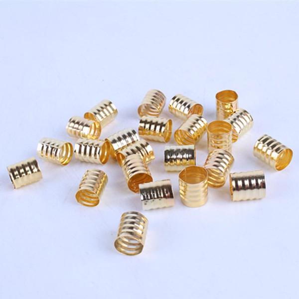 100pcs 10x8mm silver/golden Dreadlock Beads Spring Shape Adjustable Hair Braid Cuff Clip Aluminium Alloy Tube Lock Styling Tool