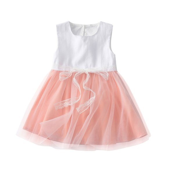 2019 Kids Toddler Baby Girl Dress Party Lace Tulle Tutu Floral Girls Patchwork Wedding Prom Bridesmaid Dresses Clothing Costume