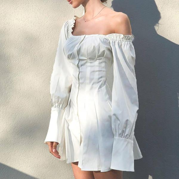 Sexy fora do ombro manga longa camisa de vestido de outono tie up botão mulheres casual dress streetwear ol branco curto dress vestidos