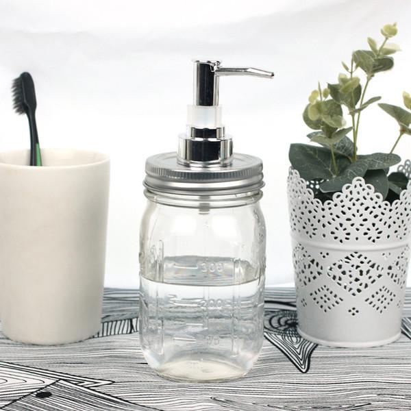 Bricolaje bomba de dispensador de jabón de mano de acero inoxidable Mason Jar Countertop Soap Lotion Dispenser perfecto para baño
