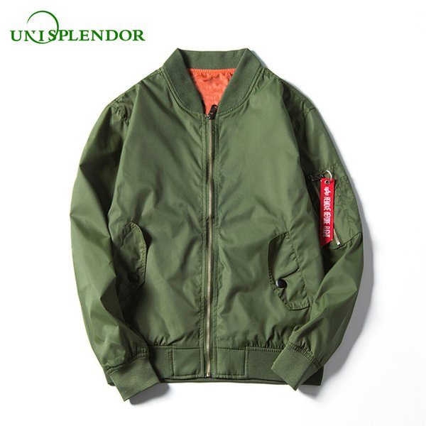 Unisplendor 2018 Men Bomber Jacket Casual Solid Plus Size Boy Cool Pilot Hip Hop Man Outwear Male Army Green Coat YY183
