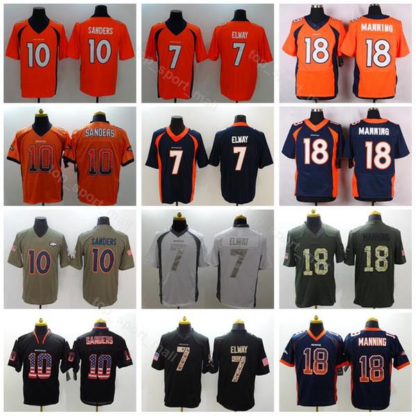 super popular 4bc79 41554 2019 Denver Men Football 7 John Elway Jersey Broncos 18 Peyton Manning 10  Emmanuel Sanders Vapor Untouchable Salute To Service Blue Orange White From  ...