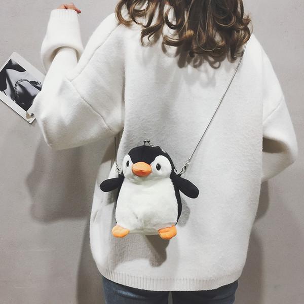 Cute small bag cute girl wild chain small bag chic new personality fashion plush penguin shoulder bag11