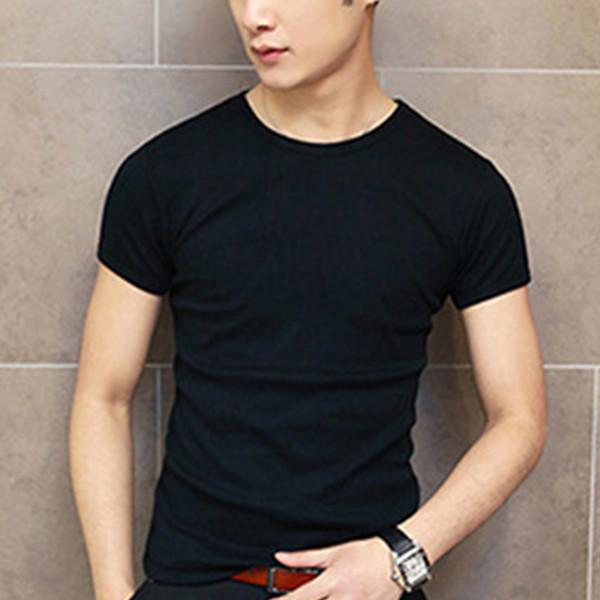Простые летние мужчины с коротким рукавом с круглым воротом новый сплошной цвет повседневная Slim Fit футболка мужская одежда мужская топы рубашка ~