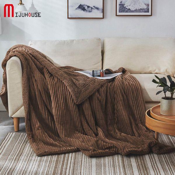 Winter Wool Velvet Blanket Ferret Cashmere Blanket Warm Blankets Fleece Super Warm Soft Throw On Sofa Bed