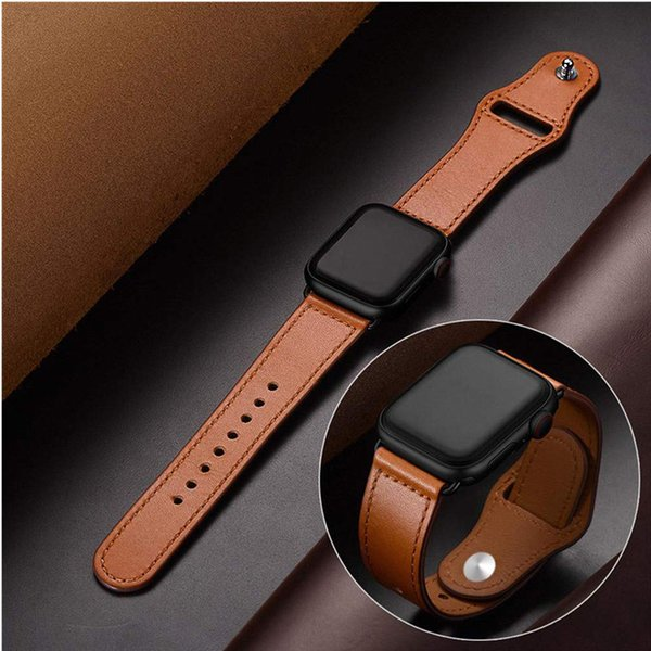 CRESTED Leather strap For apple watch band 4 3 42mm/38mm leather watchband correa belt iwatch band 44mm/40mm pulseira bracelet