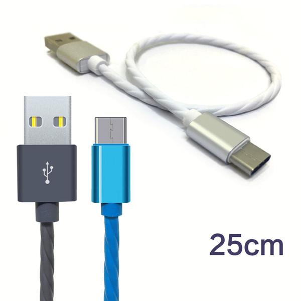 25 cm cabo de carregamento rápido para Android micro usb Tipo-C Telefone Celular cabos USB moda curto carga rápida cabo de alimentação banco de carregamento de cabo