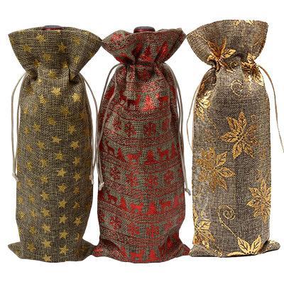 Bolsas para botellas de vino de yute Champaña Vino a ciegas Embalaje Bolsas de regalo Rústico Hesse Navidad Cena de boda Mesa Decorar EEA226