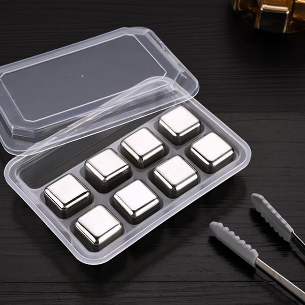 CALDO Cubetti di ghiaccio in acciaio inossidabile metallo tinta unita congelati tartar ghiaccio grana clip palla artefatto ghiacciato whisky