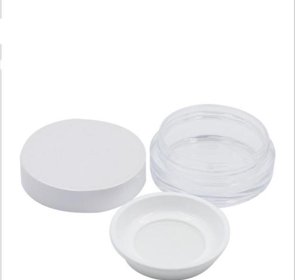 Venta al por mayor de plástico Mineral Powder Jars 5ml Clear Jars With Black White Tapa Sifter Powder Ronda contenedores