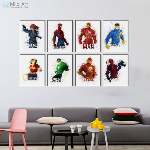 ome Decor Painting Calligraphy Watercolor Superhero Avengers Infinity War Movie Spiderman Posters Prints Kids Room Wall Art Pictures Home...