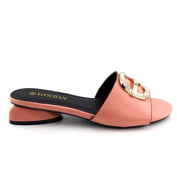 2019 Pink Color African Slippers Summer High Heels African Sexy Design Sandals Heels Pumps African Wedding Dress Italian Shoes