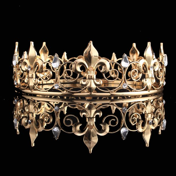 En gros Full Circle Gold Prom Accessoires Roi Hommes Couronne Ronde Impérial Médiéval Or Strass Tiara
