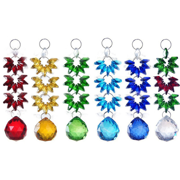 6PCS 30mm Hanging Rainbow Suncatcher Chandelier Crystal Lighting Lamp Part Ball Prisms Pendant Home Decoration WQM143