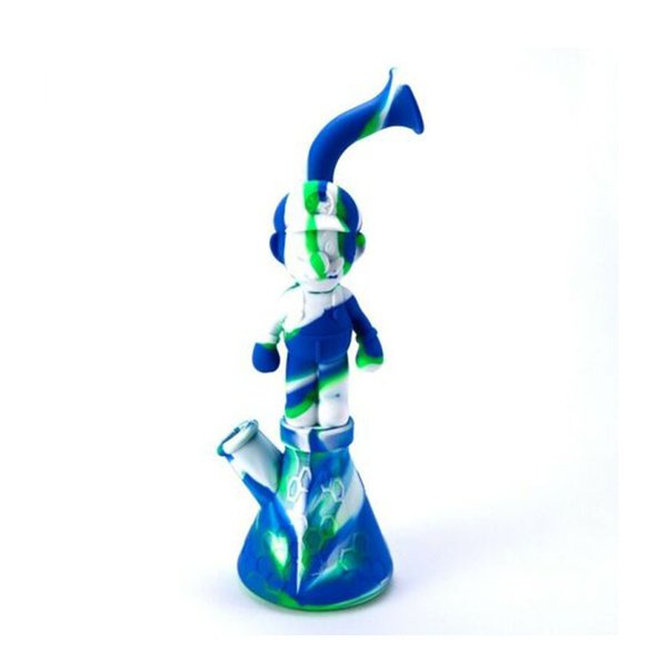 """Unbreakable Silicone Tobacco Smoking Pipes 11.22"""" Mario Shape Mini Water Silicone Hookah Bong Glass Bubblers Portable Hand Pipes"""