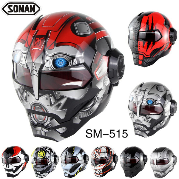 Cool Motorcycle Helmet Super Personalized Iron Man Full Helmet Vintage Open Face Design Adult Riding
