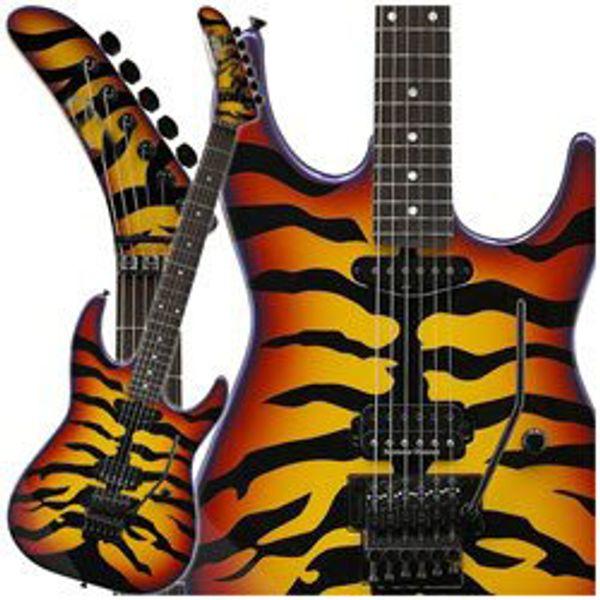 Rare Custom George Lynch Signature Tiger Stripe Sunburst Purple Edge Electric Guitar Ebony Fingerboard Tremolo, Locking Tuners