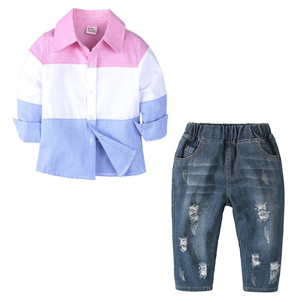 Retail Boys color-blocking Long Sleeve Shirt Denim Pants Set boys turn-down collar shirt Ripped jeans children casual fashion clothing