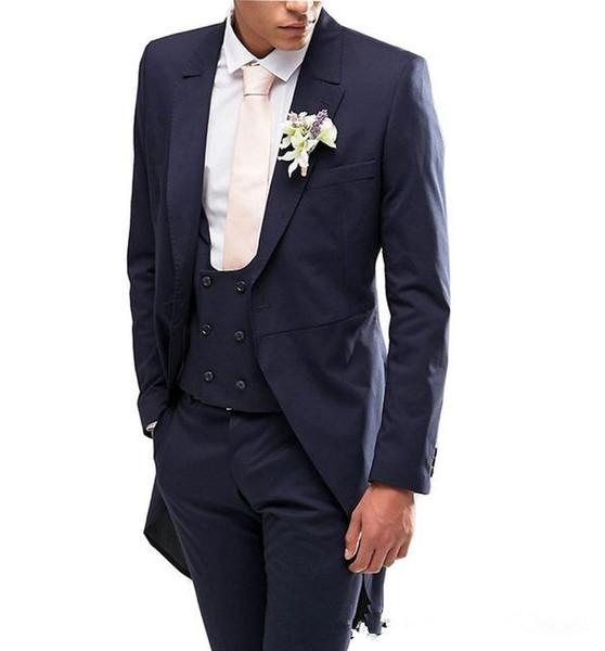 New Arrivals Navy Blue Men Suits Slim Fit Tailor Made Groom Prom Tuxedos Male Coat 3 Piece Blazer Jacket+Pants+Vest Terno