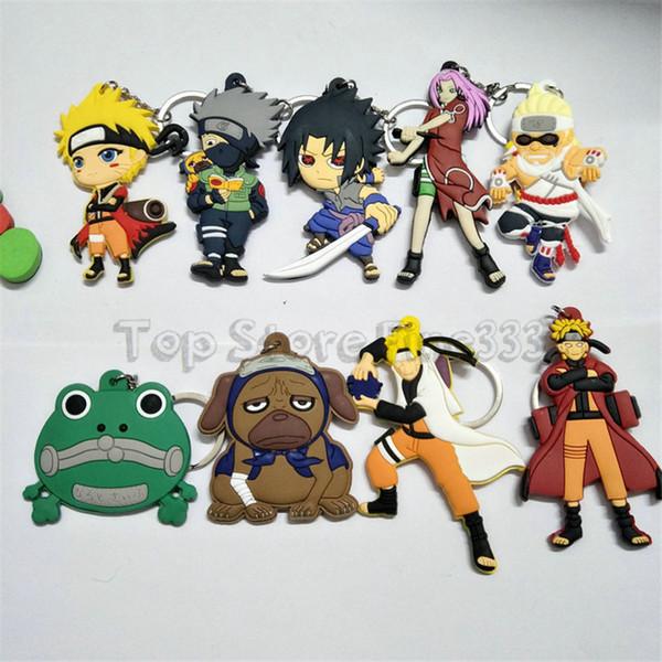 NARUTO Personaje de Dibujos Animados Comics Naruto Llavero PVC Anime Figura 3D de Doble Lado Llavero Llavero Kid Juguete Titular de la llave Regalo de la baratija