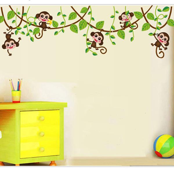 Cute mini monkeys Wall Stickers for kids room Art Decals Vinyl 3D animals plants Wallpaper sticker bedroom nursery home decor