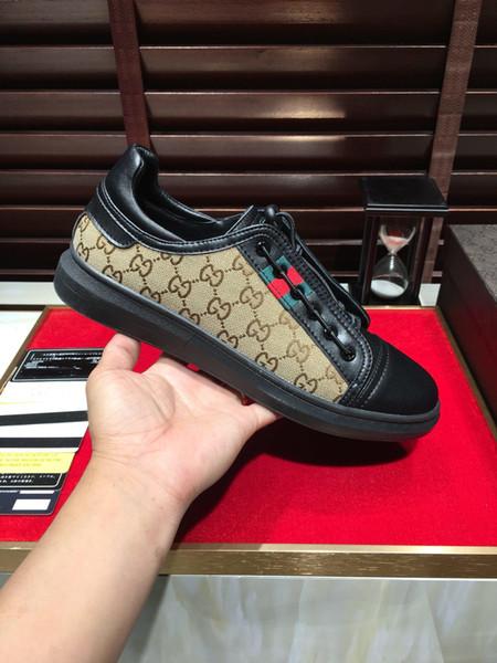 2019-е лето новый стиль бренда мужская кожаная кружева повседневная обувь с низким верхом, высококачественная дикая спортивная обувь, размер: 38-44