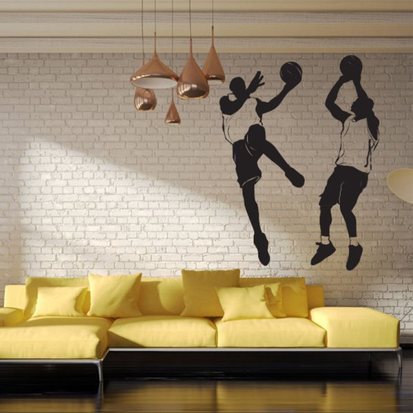 Modern Home Personality Decorative Wall Stickers Playing Basketball Sports Boy Bedroom Living Room Decoration Stickers Foreign Removab Kid Wall